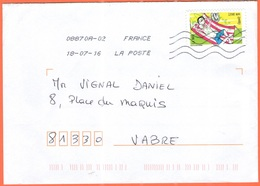 FRANCIA - France - 2016 - Lettre Verte - Viaggiata Da 08870A-02 Per Vabre - Francia