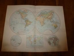 1884 Carte Géographique :Recto (TERRE Des 2 Hémisphères); Verso ( SYSTEME PLANETAIRE ) (VOLCANS Et CORAUX) (La LUNE) - Geographical Maps