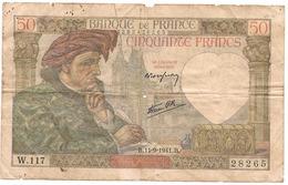"""BILLET BANQUE FRANÇAIS 50 Francs """"Jacques Cœur"""" - 1871-1952 Frühe Francs Des 20. Jh."""