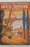 CHEMINS DE FER DE LA  PROVENCE NICE A DIGNE Par L'AUTORAIL PROVENCE , Affiche Mise En Service 1935 Illustrateur ANNOT B - Eisenbahnen
