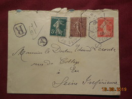 Lettre Entier Postal De 1908 A Destination De Eu En Recommandé (cachet Octogonal) - France