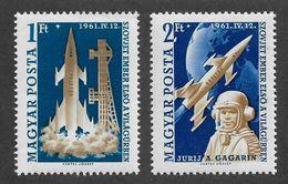 Hungary 1961 Space Rocket Vostok & Yuri Gagarin,Scott # 1381-82,VF MNH** (RN-4) - Space
