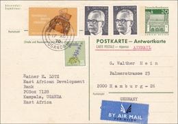 Ganzsache:  Antwortkarte Uganda-Hamburg 1970 - Ohne Zuordnung