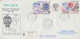 Enveloppe   Recommandée   FDC   1er  Jour   T.A.A.F   Triptyque  Bicentenaire   De  L' Air  Et  De  L' Espace  1984 - FDC