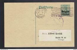 CP OC 1 Antwerpen 5 V 1915 Vers Berlin Repiquage Kart Piroth Négociant En Timbres-poste ( Tarif ). - Postwaardestukken