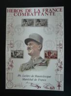 Héros De La Résistance Maréchal Leclerc Dompaire + Alencon - Encart Sur Soie AMIS (série France Combattante) - Guerre Mondiale (Seconde)
