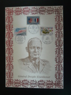 General Eisenhower US Army Débarquement De Normandie 1994 Calvados + Manche - Encart Sur Soie Feuillet FDC AMIS - Guerre Mondiale (Seconde)