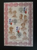 Les Libérateurs De Gaulle Leclerc Eisenhower De Lattre Patton Caen + St-Lo 2004 - Encart Sur Soie Feuillet FDC AMIS - Guerre Mondiale (Seconde)