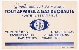 Buvard 21 X 13.6 Tout Appareil à GAZ De Qualité Porte L'estampille ATG - Electricité & Gaz