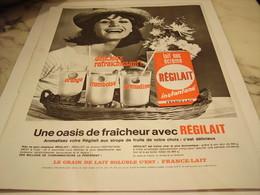 ANCIENNE  PUBLICITE OASIS DE FRAICHEUR   REGILAIT 1965 - Affiches
