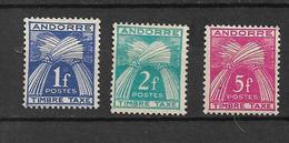 Andorre  Francais  Taxes De 1946/50  N°33/34 + N°37    Neufs Sans Gomme - Portomarken