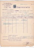 LIGURIA / LIVORNO 1938 / CERTIFICAT D ASSURANCE POUR TRANSPORT UVA URSINA  / MARCA DA BOLLO 4 LIRES - Italy