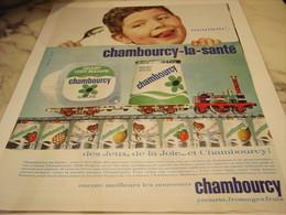 ANCIENNE PUBLICITE LA SANTE  CHAMBOURCY 1965 - Affiches