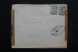 ESPAGNE - Enveloppe De Madrid Pour Paris En 1945, Cachets De Censure , Bandes De Contrôle Postal - L 24906 - Marcas De Censura Nacional