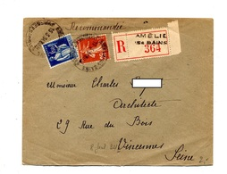 Lettre Recommandee Amelie Les Bains  Sur Paix Semeuse - Marcophilie (Lettres)