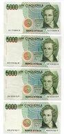 Italia - 4 Banconote  Da Lire 5.000  Bellini - Vedi Foto - (FDC14448) - [ 2] 1946-… : Repubblica