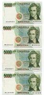 Italia - 4 Banconote  Da Lire 5.000  Bellini - Vedi Foto - (FDC14449) - [ 2] 1946-… : Repubblica
