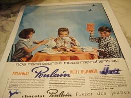 ANCIENNE PUBLICITE REACTEUR EN MARCHE CHOCOLAT POULAIN  1965 - Affiches