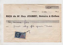 Orthez. Reçu De Notaire. Timbre Fiscal. 1960. - Décrets & Lois