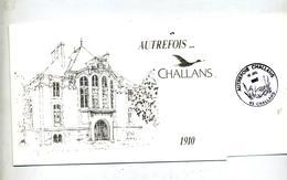 Carte Double Cachet Challans Autrefois Theme Canard - Marcophilie (Lettres)