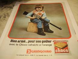 ANCIENNE PUBLICITE CHOCO ORANGE GRINGOIRE 1965 - Affiches