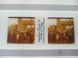 Exposition Coloniale 1931Pavillon De L'afrique Promenade A Dos De Chameau  Stéréo Sur Verre Plaque De Verre Françe - Diapositivas De Vidrio