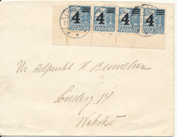 Denmark Cover Lyngby 31-7-1935 With A 4 Stripe Overprinted Stamps - 1913-47 (Christian X)