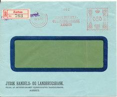 Denmark Registered Bank Cover With Meter Cancel Aarhus 14-6-1945 (Jydsk Hanels Og Landbrugsbank Aarhus) - 1913-47 (Christian X)