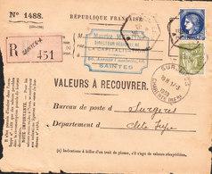 VALEUR A RECIUVRER Recommandée De SAINTES Du 19/11/1939 (La Capitallisation) - Non Classés