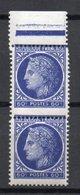 - FRANCE Variété N° 674h ** - 60 C. Outremer Type Cérès De Mazelin 1945 - PIQUAGE A CHEVAL - - Errors & Oddities