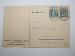 1920 , Karte Aus Preussisch Stargard - ....-1919 Provisional Government