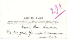Visitekaartje - Carte Visite - Secretaris Politierechtbank Gent - Emile Ceunen - Cartes De Visite