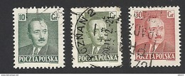 Polen 1950, Mi.-Nr. 672+673+675, Gestempelt - 1944-.... Republik
