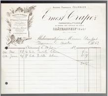 FACTURE 1912 PHARMACIE ERNEST CREPEZ A CHATEAUNEUF EN THYMERAIS EURE ET LOIR - France