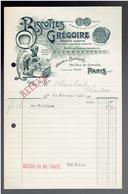 FACTURE 1912 BISCOTTES GREGOIRE 196 RUE DE GRENELLE A PARIS 7 - France