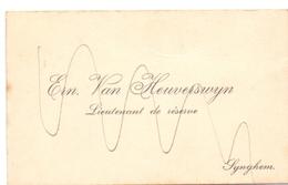 Visitekaartje - Carte Visite - Reserve Luitenant Ern. Van Heuverswyn - Zingem - Cartes De Visite
