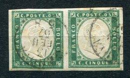 1857-SARDEGNA-5 C.VERDE PISELLO.RARA COPPIA USATA-LUXE !! - Sardinia