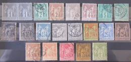 France - Petite Collection De 21 Timbres SAGE Type 1 Et 2 Oblitérés (Paire 1c Neuve*) Du 1c Au 1f - A étudier - Collections