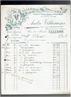 FACTURE 1921 PHARMACIE DROGUERIE ANDRE VILLIAUX PLACE DU MARCHE A ILLIERS EURE ET LOIR - 1900 – 1949
