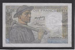 France 10 Francs Mineur 30-10-1947 - Fayette N°8-18 - TTB - 1871-1952 Gedurende De XXste In Omloop