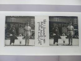 1925Promenade A Kehl Avec Le Géneral Rubell Cdt La Place De Strasbourg Stéréo Sur Verre Plaque De Verre Guerre Militaire - Diapositivas De Vidrio