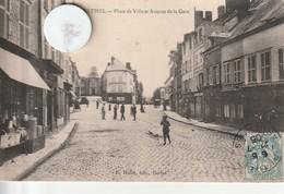 08 - Carte Postale Ancienne De  RETHEL  Place De La Ville Et Avenue De La Gare - Rethel