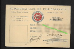 Carte De Membre - Automobile Club De France Ile De France Avec Une Vignette 1953 Collée Au Dos Voiture Car Auto - Automobili