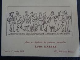 Carte De Voeux Louis Daspet (1913) - Documentos Antiguos