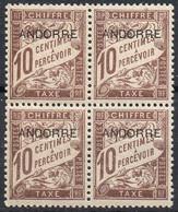 Andorre Français - Taxe N° 2 XX (neuf Sans Charnière) En Bloc De 4 - Postage Due