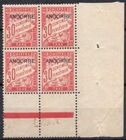 Andorre Français - Taxe N° 3 XX (neuf Sans Charnière) En Bloc De 4 Coin De Feuille - Timbres-taxe