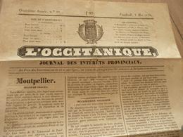 Journal L'Occitanique 02/05/1834 Montpellier Intérêts Provinciaux - Journaux - Quotidiens