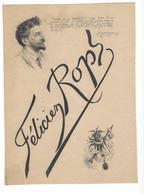 """FELICIEN ROPS 1833 - 1898 Portrait  C F  Citation Montaigne Marotte Macabre """" Aultre Estre Ne Veulx """" - Lithographies"""