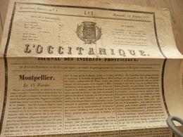 Journal L'Occitanique 12/02/1834 Montpellier Intérêts Provinciaux - Journaux - Quotidiens
