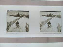 Esquí Stéréo Sur Verre Plaque De Verre Françe Transport Neige Montagnes Esquí - Diapositivas De Vidrio